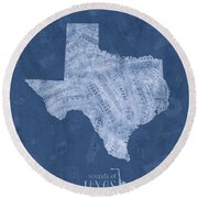 Texas Map Music Notes 5 Round Beach Towel