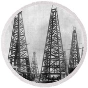 Texas: Oil Derricks, C1901 Round Beach Towel