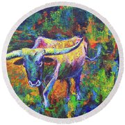 Round Beach Towel featuring the painting Texas Pride by Karen Kennedy Chatham