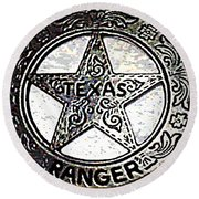 Round Beach Towel featuring the photograph Texas Ranger Badge by George Pedro
