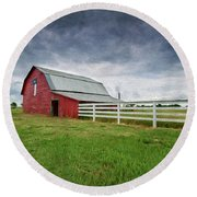 Texas Red Barn Round Beach Towel