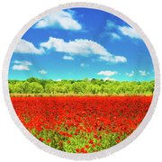 Texas Red Poppies Round Beach Towel