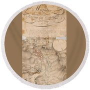 Texas Revolution Santa Anna 1835 Map For The Battle Of San Jacinto  Round Beach Towel