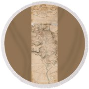 Texas Revolution Santa Anna 1835 Map For The Battle Of San Jacinto  Round Beach Towel