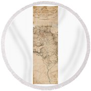 Texas Revolution Santa Anna 1835 Map For The Battle Of San Jacinto With Border Round Beach Towel