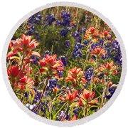 Texas Roadside Wildflowers Round Beach Towel