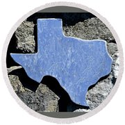Round Beach Towel featuring the photograph Texas Rocks by Nadalyn Larsen