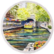 Round Beach Towel featuring the painting Texas San Antonio River Walk by Carlin Blahnik CarlinArtWatercolor