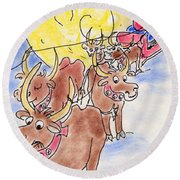 Round Beach Towel featuring the pastel Texas Santa by Vonda Lawson-Rosa