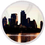 Texas Skyline - Austin Round Beach Towel by Art Block Collections