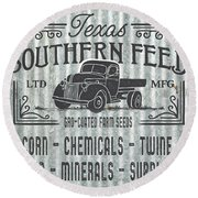 Texas Southern Feed Sign Round Beach Towel