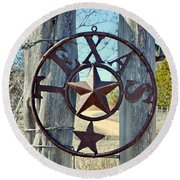Texas Star Rustic Iron Sign Round Beach Towel