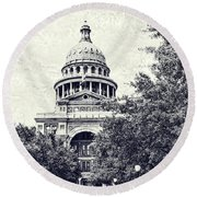 Texas State Capitol Round Beach Towel by Luther Fine Art