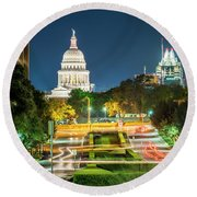 Round Beach Towel featuring the photograph Texas State Capitol University Of Texas by Andy Crawford