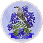 Texas State Mockingbird And Bluebonnet Flower Round Beach Towel by Crista Forest