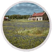 Round Beach Towel featuring the photograph Texas Stone House by Linda Unger