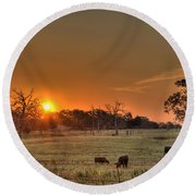 Texas Sunrise Round Beach Towel