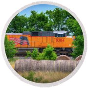 Texas Train Round Beach Towel by Kelly Wade