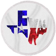 Texas Typographic Map Flag Round Beach Towel