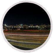 Texas University Tower And Downtown Austin Skyline From Ih35 Round Beach Towel