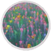 Texas Wildflowers Abstract Round Beach Towel