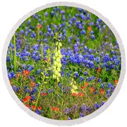 Round Beach Towel featuring the photograph Texas Wildflowers by Kathy White