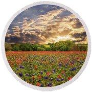 Texas Wildflowers Under Sunset Skies Round Beach Towel