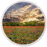 Texas Wildflowers Under Sunset Skies Round Beach Towel