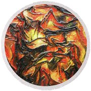 Round Beach Towel featuring the mixed media Texture Of Fire by Angela Stout