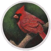 Textured Cardinal Round Beach Towel by Janet King