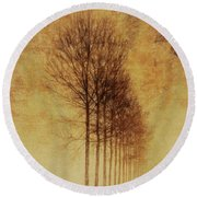 Round Beach Towel featuring the mixed media Textured Eerie Trees by Dan Sproul