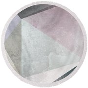 Textured Geometric Triangles Round Beach Towel by Pati Photography