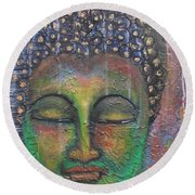 Textured Green Buddha Round Beach Towel