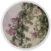 Textured Roses Round Beach Towel