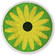 Textured Yellow Daisy Round Beach Towel