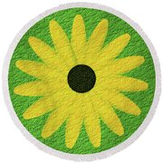 Textured Yellow Daisy Round Beach Towel