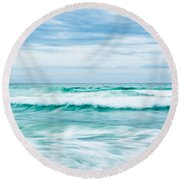 Textures In The Waves Round Beach Towel by Shelby  Young