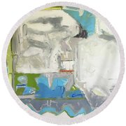 Round Beach Towel featuring the painting th by Chris Gholson