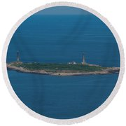 Thacher Island Lights Round Beach Towel