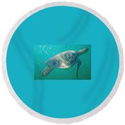 Thaddeus The Turtle Round Beach Towel by Erika Swartzkopf