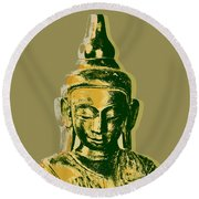 Round Beach Towel featuring the digital art Thai Buddha #4 Pop Art Warhol Style Print.  by Jean luc Comperat