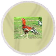 Round Beach Towel featuring the mixed media Thai Fighting Rooster by Charles Shoup