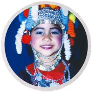 Round Beach Towel featuring the photograph Thai Girl Traditionally Dressed by Heiko Koehrer-Wagner