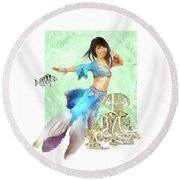Thai Mermaid Round Beach Towel
