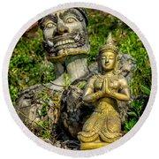 Thai Statues Round Beach Towel