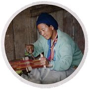 Round Beach Towel featuring the photograph Thai Weaving Tradition by Heiko Koehrer-Wagner
