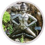 Thai Yoga Statue At Wat Pho Round Beach Towel