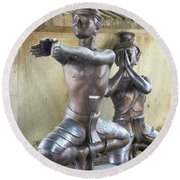 Thai Yoga Statues At Famous Wat Pho Temple Round Beach Towel