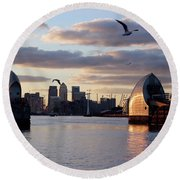 Thames Barrier And Seagulls Round Beach Towel