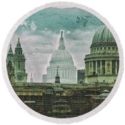 Thamesscape 2 -  Ghosts Of London Round Beach Towel